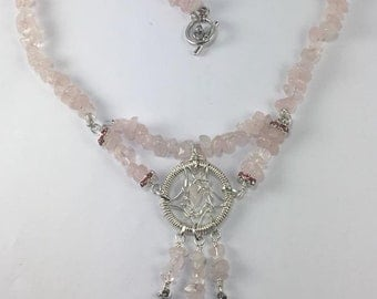 Handmade Genuine Rose Quartz Dreamcatcher Silver wire wrapped DreamCatcher Necklace Gemstone Dreamcatcher necklace Pink Stone Necklace