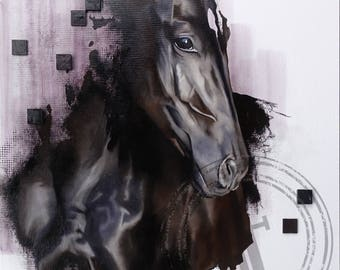 ANIMAL HORSE PAINTING on canvas //24''x30''// contemporary oil art modern equestrian animal figurative