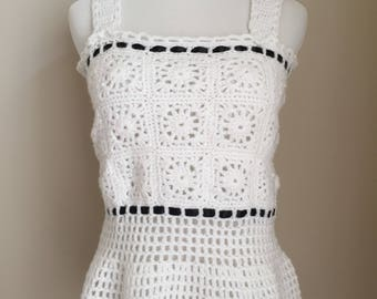 Vintage 1970s Crocheted Black and White Peplum Tank with Ribbon Trim