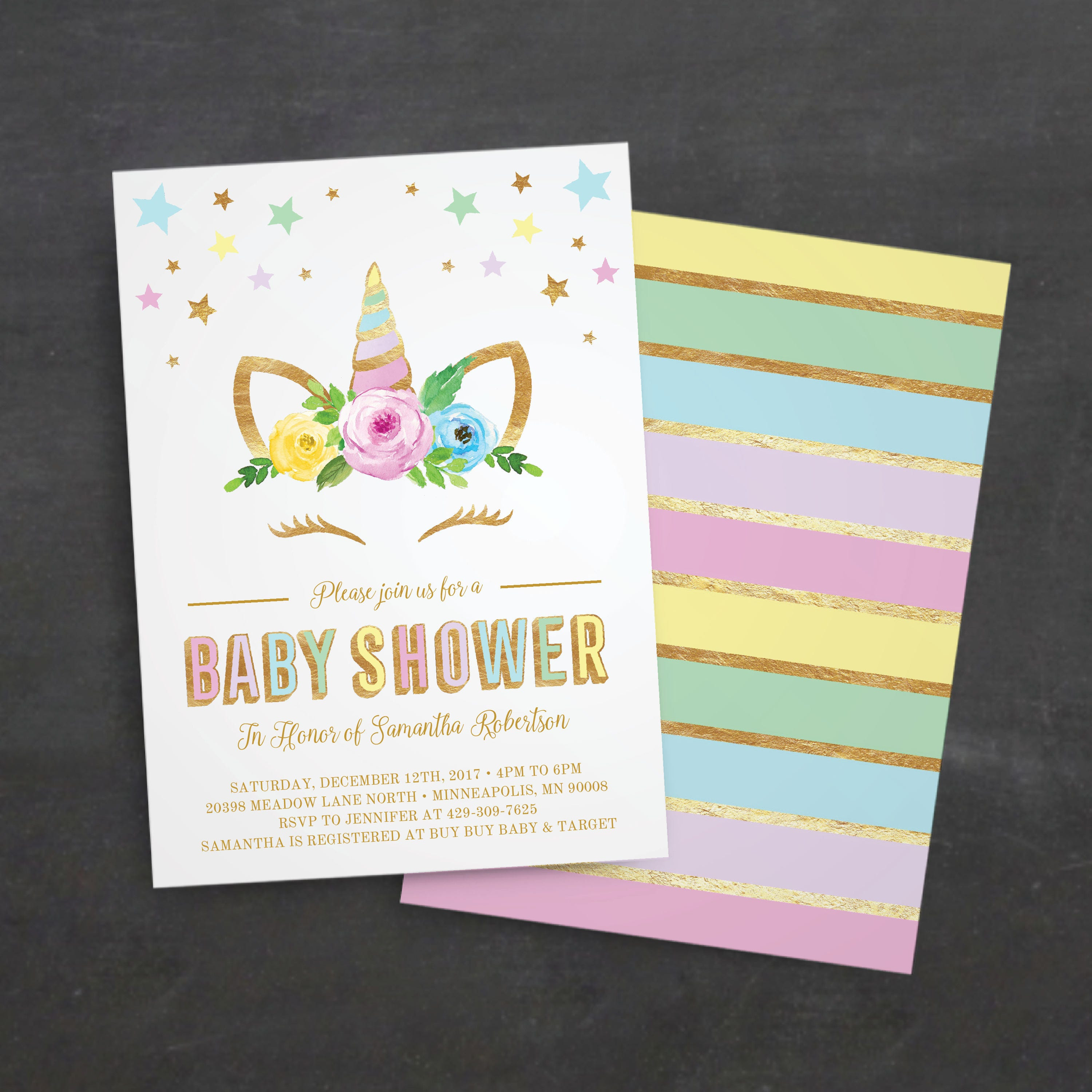 Unicorn Baby Shower Invitations Rainbow Magical On Baby Shower ...