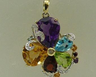 Multi-Color 7.18ct Gemstone Pendant, 14K Yellow Gold & Diamonds