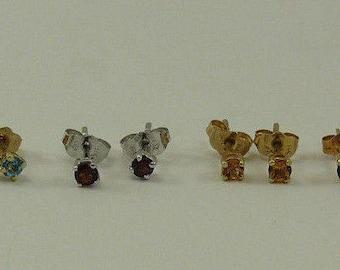 Citrine, Blue Topaz, Sapphire, Garnet Stud Earring 14k Yellow Gold & White Gold