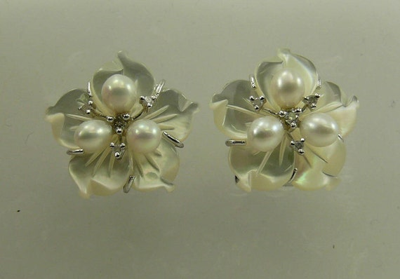 Mother of Pearl,Freshwater Pearl & Diamond Earrings Sterling Silver Omega Backs