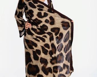silk kimono robe bridesmaid gift bridal leopard Luxury silk kimono robe, women's silk lingerie, wedding robe, gift for her, full length robe