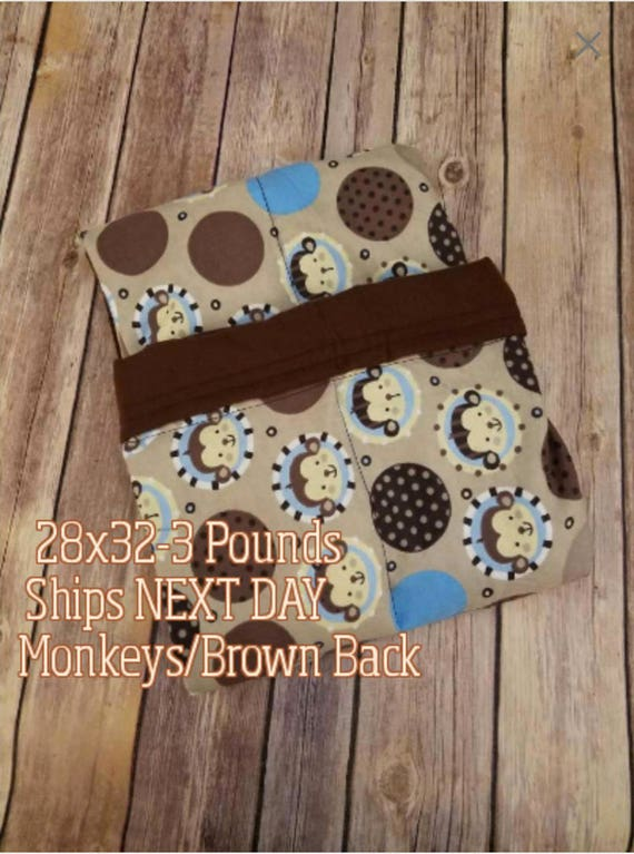 Monkey, Jungle, 3 Pound, WEIGHTED BLANKET, Ready To Ship, 3 pounds, 28x32 for Autism, Sensory, ADHD, Calming, Anxiety,