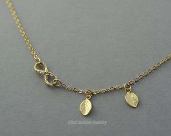 Gold Infinity necklace, infinity leaf necklace, personalized infinity necklace, eternity necklace, eternity jewelry, love jewelry