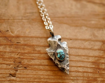Hand Cast Arrowhead & Turquoise Necklace | Sterling Silver