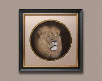 Original Pastel Painting of a lion| Art and Collectables|Wildlife|Free Shipping.