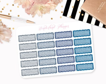 Blue Glitter Scallop Quarter Boxes Functional Planner Stickers // Quarter Box Designs // Perfect for Erin Condren Vertical Life Planner