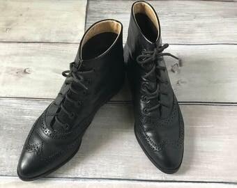 size 5 M Vintage 70's Prairie Boot granny boot Pappagallo Black oxford