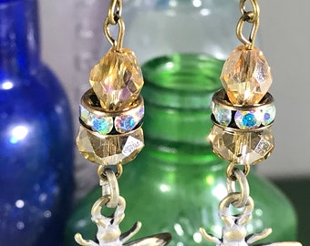 Bee with Yellow Crystals Earrings