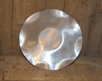 Vintage Aluminum Plate   Forged Hammered Aluminum Canada Pinecones - 708