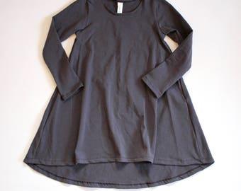 GRAY Long sleeve swing dress, high low dress, long sleeve dress, baby dress