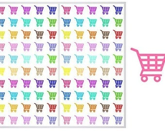 FREE SHIPPING**2 Sheets of Shopping Cart Stickers for Planners, Notebooks and Journals, ST035