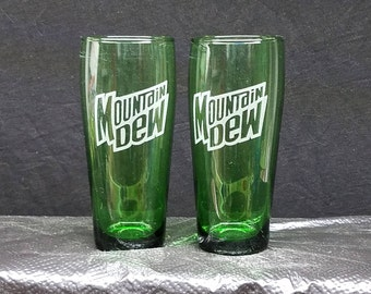 2 etched green pint glasses, Mountain Dew