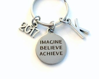 Imagine Believe Achieve Keychain, 2017 Gift for Him Key chain, Keyring women letter initial custom Men College University New Job Promotion