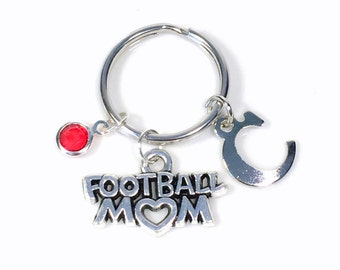 Football Mom Keychain, Foot Ball Mother KeyRing, Silver Key Chain Gift Mum Initial Birthstone Purse charm planner team Momma present her
