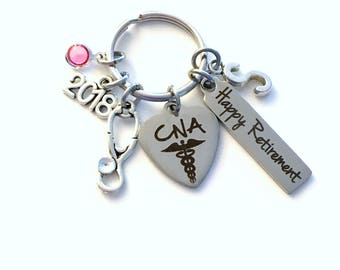 Retirement Gift for CNA Keychain, 2018 Certified Nursing Assistant Nurse Keyring, Retire Key Chain, Present him her women Men 2018 him CN