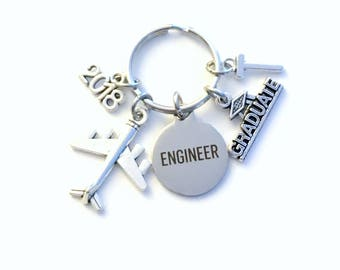 Graduation Gift for Aircraft Engineer Keychain, 2018 Aeronautical Airplane Key chain Keyring men women letter initial Aerospace Propulsion