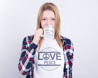 Love and Peace T-Shirt, Symbol of Peace, Hippie tee, Love tee