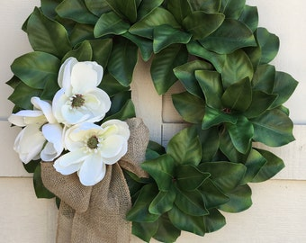 Magnolia wreath,Wedding wreath,Farmhouse wreath,Farm style wreath,Summer wreath,Magnolia flowers,Magnolia,Green wreath,Every Day wreath
