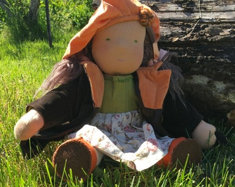 Steiner Doll, lovely Waldorf Doll 18 in/45 cm tall, Handmade, Natural doll