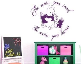 Wall Decal Quote The More You Read The More You Know Book Motivation Reading Winnie the Pooh Vinyl Sticker Children Murals Home Décor A502
