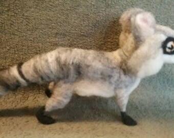 Wool Raccoon (One of a Kind) - Rustic Animal Gift -Needle Craft Animal -Felted Raccoon - Raccoon Decor - Needle Felt Critter - Raccoon Lover