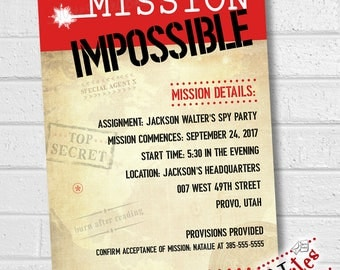 Mission Impossible Invitation, Spy Party Invitation, Mission Impossible Party, Spy Birthday Party, Escape Room Party Invite | PRINTABLE