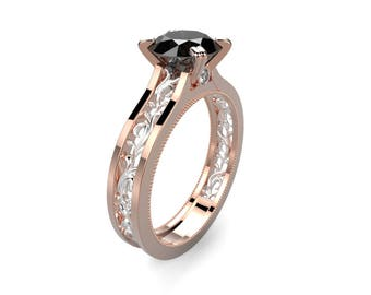 Black Diamond Ring Rose Gold Black Diamond Engagement Ring Black Diamond Engagement Ring Genuine Black Diamond Rose Gold Ring