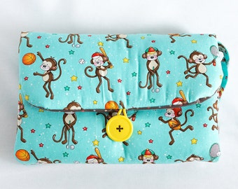 Teal Monkey Sports   Baby Travel Changing Pad, Diaper Mat, Baby Shower Gift