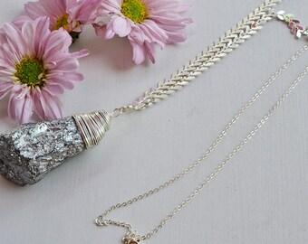 Titanium quartz, Natural stone necklace, necklace with stone, pendant natural stone, necklace with pendant, long necklace, silver chain