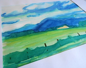 original painting watercolor ink landscape hilly countryside Ardeche @méka - drepth