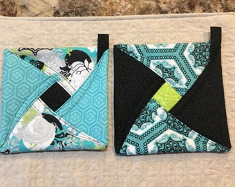 Potholders, trivets, quilted potholder, turquoise and black, kitchen decor