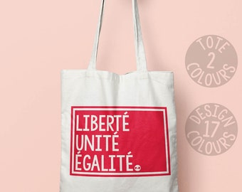 Liberté Unité Égalité reusable eco-friendly canvas tote bag, personalized gift for her, strong woman, protest rally France, asylum seeker