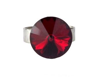 Adjustable red round ring, Swarovski Crystal, rhodium silver plated brass