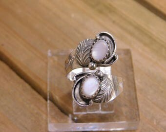 Sterling Silver Pink Mother of Pearl Adjustable Ring