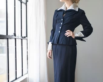 Lili Ann Vintage 50's Wool Blend Pencil Skirt and Blazer Suit Navy with Unique Detailing