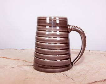 Spiral Pottery Coffee Mug, Textured Handmade Pottery Mug