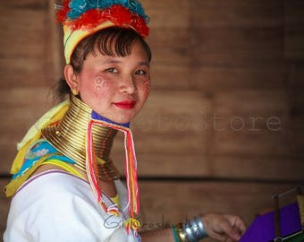 Myanmar Photography, Padaung Woman with long Neck, Travel Photography, Woman Portrait, Fine Art Photography, Print Photography, Wall Art