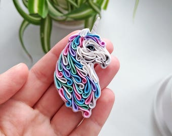 Polymer clay Unicorn brooch, multicolour unicorn jewelry, Unicorn necklace, Unicorn lover, unicorn gift, Unicorn accessories, blue pink
