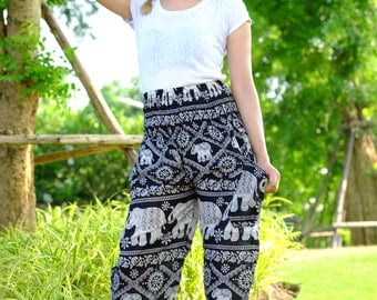 hippie pants hobo pants harem pants elephant pants in Black