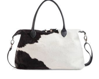 Cowhide Duffle Bag | Exact Bag you Will Receive | Black and White Travel Bag