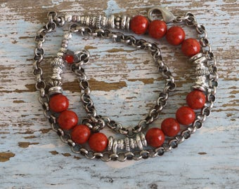 Red Sponge Coral and Silver Wrap Bracelet/ Red and Antique Silver Bracelet/ Triple Wrap Bracelet/ Red and Silver Plated Rolo Chain Bracelet