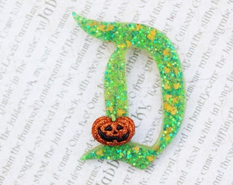 Disney D Pin - The Big D Disney D Pin - Green and Orange Jolly HollieDay Disney D Brooch - Jumbo Glitter Pumpkin Disney D Brooch