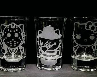 Hello Kitty Shot Glasses. Icon Horror Freddy Krueger Jason Voorhees Michael Myers