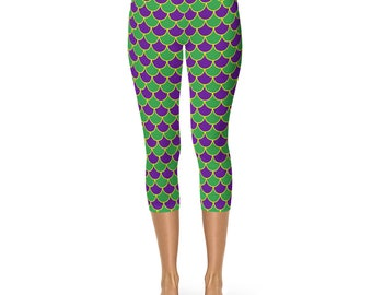 Mardi Gras Capris Leggings, Mermaid Scales Yoga Pants in Purple and Green, Leggings Costumes