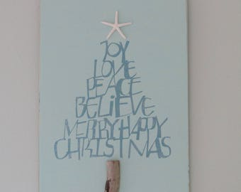 Christmas sign, coastal Christmas, Christmas at the beach, coastal decor