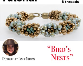Kumihimo 8 threads pattern tutorial Bird's Nests