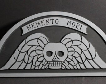Memento Mori Gravestone Carved in Pine Wood | Early Gravestone | Old Gravestone Rubbings | Skull and Wings